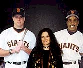 Andrea and Giants J.T. Snow and Barry Bonds